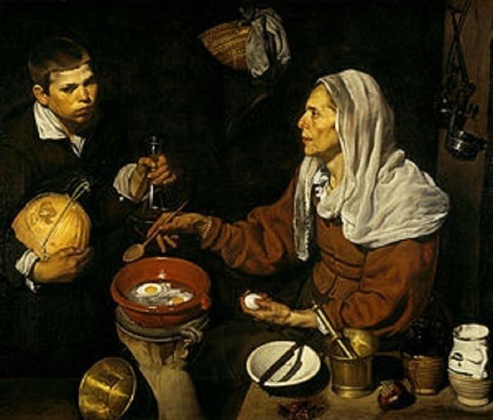 Vieja friendo huevos. Obra de Diego Velázquez.